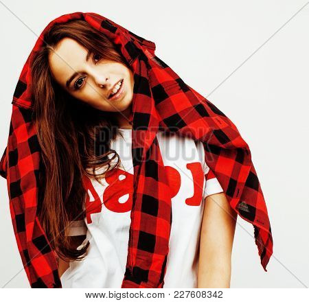 Young Pretty Stylish Brunette Hipster Girl Posing Emotional Isolated On White Background Happy Smili