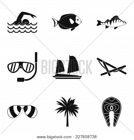 Ocean Adventure Icons Set. Simple Set Of 9 Ocean Adventure Vector Icons For Web Isolated On White Ba