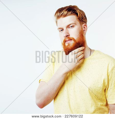Young Handsome Hipster Ginger Bearded Guy Looking Brutal Isolated On White Background, Lifestyle Peo