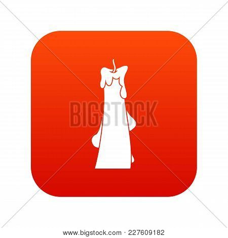 Dropped Candle Icon Digital Red For Any Design Isolated On White Vector Illustration