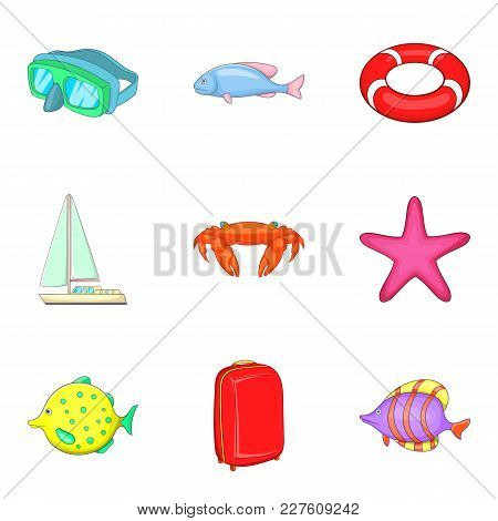 Waterside Icons Set. Cartoon Set Of 9 Waterside Vector Icons For Web Isolated On White Background
