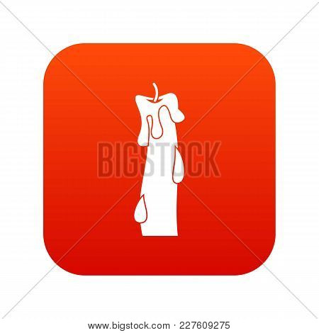 Waxy Candle Icon Digital Red For Any Design Isolated On White Vector Illustration