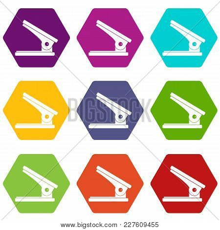 Office Paper Hole Puncher Icon Set Many Color Hexahedron Isolated On White Vector Illustration