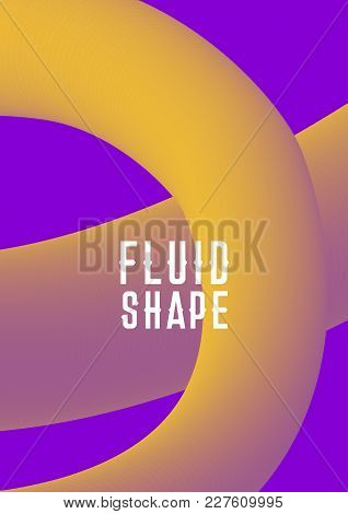 Ultra Violet Purple Colors. Liquid Fluid Shape Cover Design. Vector Modern Abstract Cover With Plast