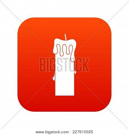Memorial Candle Icon Digital Red For Any Design Isolated On White Vector Illustration