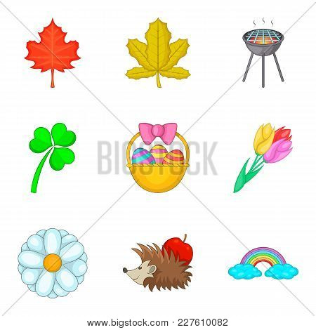 Early Spring Icons Set. Cartoon Set Of 9 Early Spring Vector Icons For Web Isolated On White Backgro