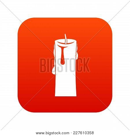 One Candle Icon Digital Red For Any Design Isolated On White Vector Illustration