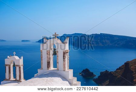 Bell tower of an orthodox church at Santorini Greece