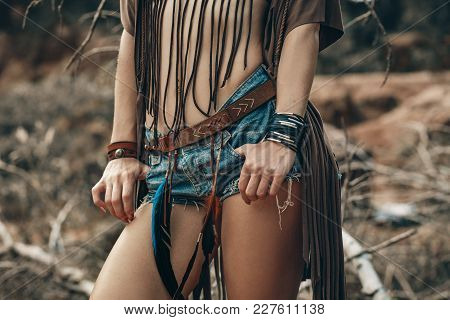 Close Up Of Sexy Slim Sportive Young Woman Wearing Denim Shorts