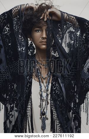 Beautiful Young Boho Woman Fashionable Portrait On White Background
