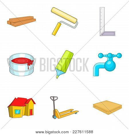 House Fix Icons Set. Cartoon Set Of 9 House Fix Vector Icons For Web Isolated On White Background