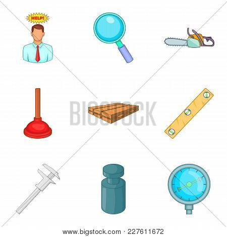 Fix Icons Set. Cartoon Set Of 9 Fix Vector Icons For Web Isolated On White Background