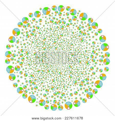 Pie Chart Explosion Round Cluster. Object Pattern Organized From Scattered Pie Chart Pictographs As