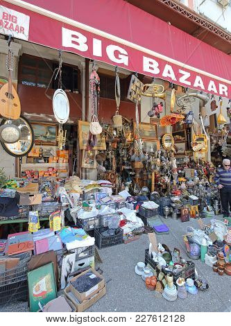 Athens, Greece - May 05, 2015: Big Bazaar Antiques Store Second Hand Knick Knack Shop At Central Mar