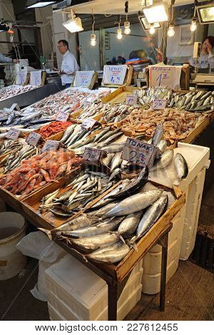 Athens, Greece - May 05, 2015: Seafood Stalls With Fishmongers And Shoppers In Central Market In Ath