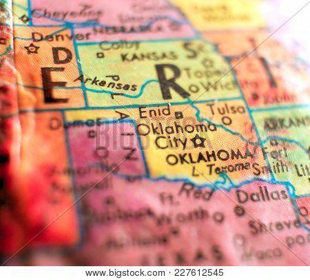 Oklahoma City Usa Isolated Focus Macro Shot On Globe Map For Travel Blogs, Social Media, Web Banners
