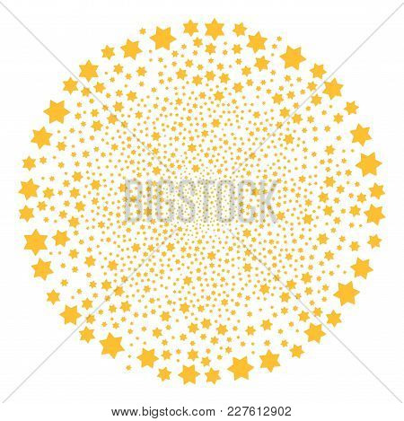 Six Pointed Star Fireworks Circle. Object Pattern Constructed From Random Six Pointed Star Icons As