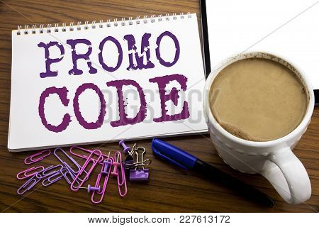 Hand Writing Text Caption Inspiration Showing Promo Code. Business Concept For Promotion For Online