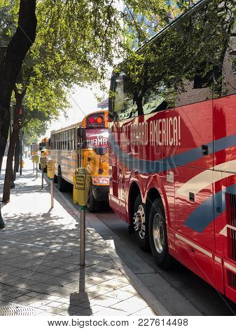 Phoenix, Az, Usa - December 14, 2017:  Charter And School Buses Closely Parked For A Special Event I