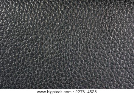 Closeup Of The Texture Black Leather Hand Bag
