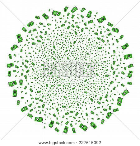 Video Gpu Card Fireworks Spheric Cluster. Object Pattern Organized From Random Video Gpu Card Icons