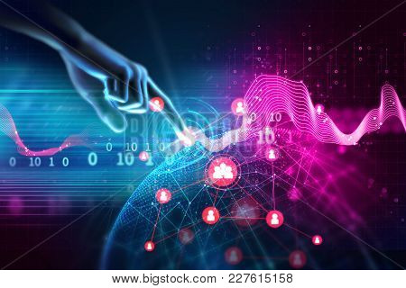 3d Illustration Of Hand Touch Gesture On Futuristic Technology Design Element  Represent Connection
