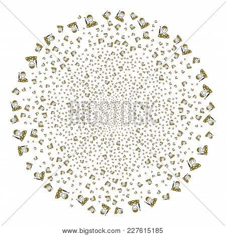 Soldier Fireworks Circle. Object Pattern Organized From Random Soldier Pictographs As Exploding Clus