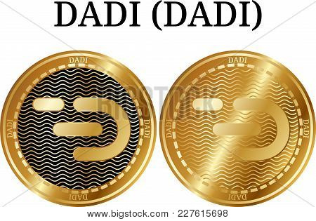 Set Of Physical Golden Coin Dadi (dadi), Digital Cryptocurrency. Dadi (dadi) Icon Set. Vector Illust