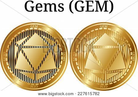 Set Of Physical Golden Coin Gems (gem), Digital Cryptocurrency. Gems (gem) Icon Set. Vector Illustra