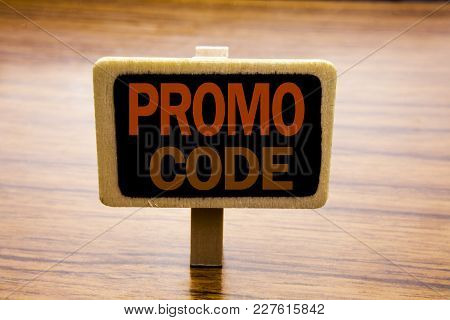 Conceptual Hand Writing Text Caption Inspiration Showing Promo Code. Business Concept For Promotion