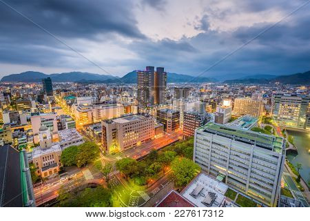 Shizuoka City, Japan downtown skyline at dusk.