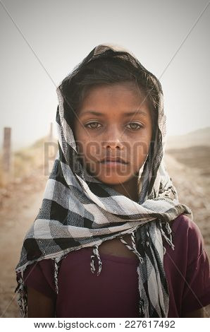 Ajmer, India - 18th February 2015 : Portrait Of An Indian Girl With Sadness In Her Eyes.