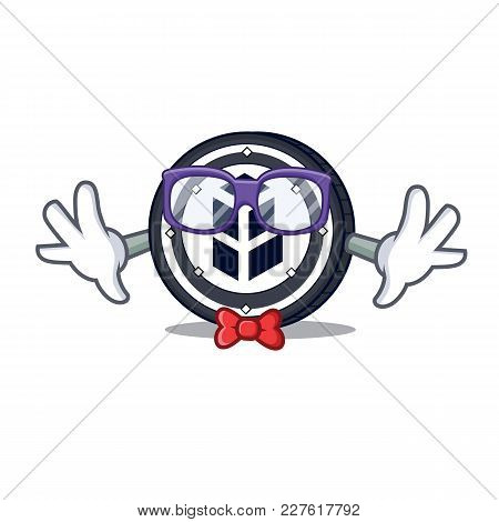 Geek Bancor Coin Character Cartoon Vector Illustration