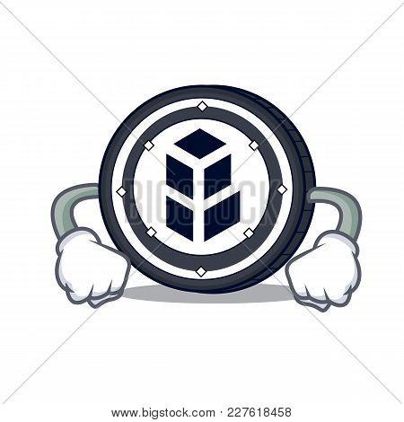 Angry Bancor Coin Mascot Cartoon Vector Illustration