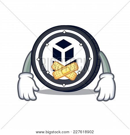 Silent Bancor Coin Mascot Cartoon Vector Illustration