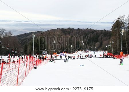 Zagreb, Croatia - January 4,2018 : The Audience Crosses The Ski Slope Before The Start Of The Audi F