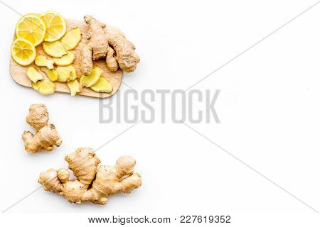 Fresh Ginger Root On White Background Top View.