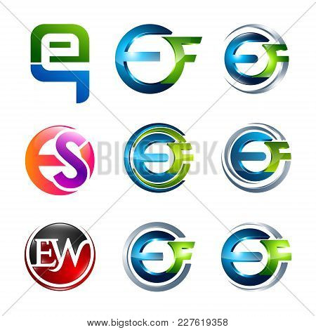 Initial Eq, Ef, Es, Ew Letters Alphabet Logo Design Template Elements