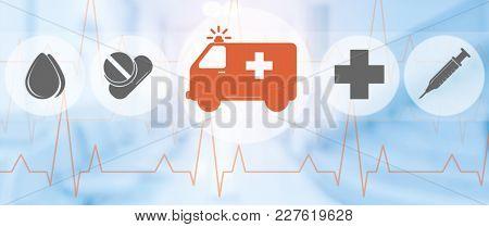 Ambulance And Emergency Icon On Blue Background