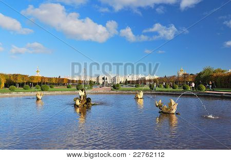 Peterhof St. Petersburg. Upper Park with fountains and geometric layout poster