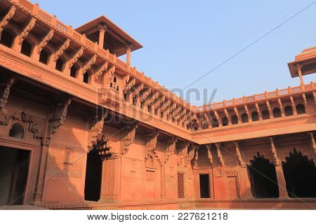 Agra India - October 23, 2017: Agra Fort Historical Architecture In Agra India