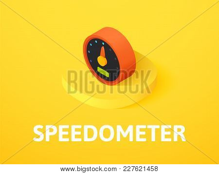 Speedometer Icon, Vector Symbol In Flat Isometric Style Isolated On Color Background