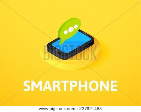 Smartphone Icon, Vector Symbol In Flat Isometric Style Isolated On Color Background