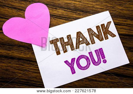 Conceptual Hand Writing Text Showing Thank You. Concept For Thanks Message Written On Sticky Note Pa
