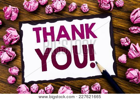 Hand Writing Text Caption Inspiration Showing Thank You. Business Concept For Thanks Message Written