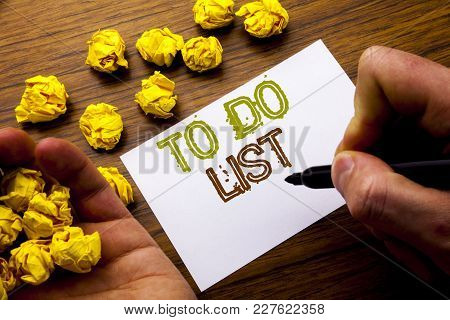 Word, Writing To Do List. Concept For Plan Lists Remider Written On Notebook Note Paper On Wooden Ba