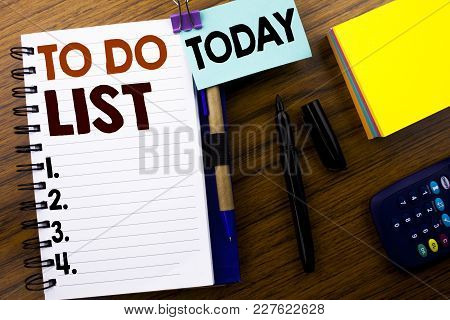 Word, Writing To Do List. Business Concept For Plan Lists Remider Written On Book Note Paper On Wood