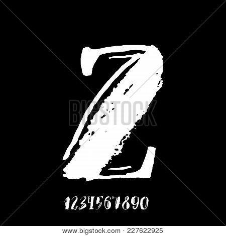 Letter Z. Handwritten By Dry Brush. Rough Strokes Textured Font. Vector Illustration. Grunge Style V