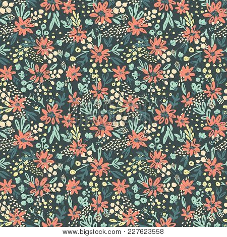 Nice Vector Seamless Flower Pattern. Endless Background Decorative Elements. Modern Floral Texture.