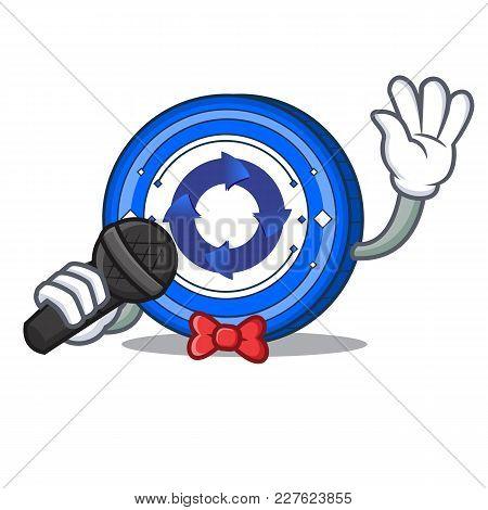 Singing Cryptonex Coin Mascot Cartoon Vector Illustration